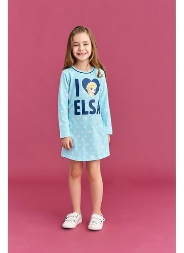 Frozen Karlar Ülkesi - Frozen Lisanslı Kız Çocuk Gecelik Açık Gri Mavi